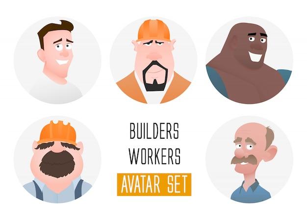 Avatars de personnages dans un style plat de dessin animé. les gars d'âge moyen et âgé. l'utilisateur fait face dans un style plat branché. travailleurs et constructeurs