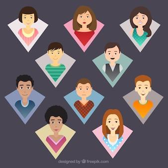 Avatars personnes à l'intérieur forme géométrique