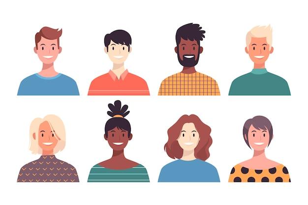 Avatars de personnes multiraciales