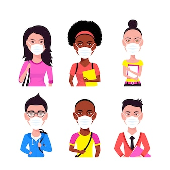 Avatars de personnes portant un masque facial, ensemble de style plat