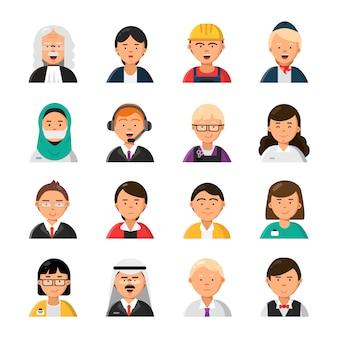Avatars de professions. serveur hôtesse de l'air juge avocat gestionnaire constructeur icônes de professions masculines et féminines