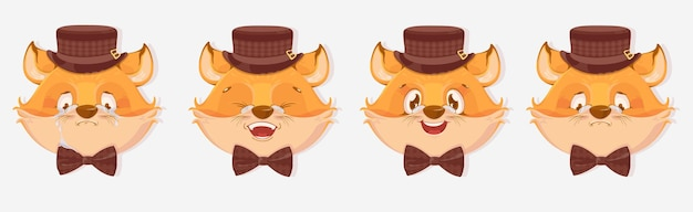 Avatars de renard de dessin animé avec différentes émotions isolés sur fond blanc