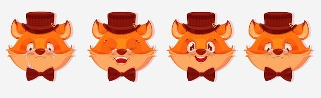 Avatars de renard de dessin animé avec différentes émotions