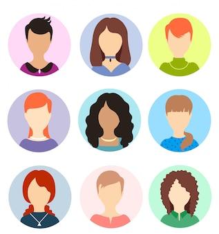 Avatars sans visage pour femmes. portraits anonymes humains féminins, icônes d'avatar de profil rond femme, images de tête des utilisateurs du site web.