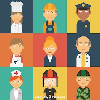 Les avatars des travailleurs avec un style heureux