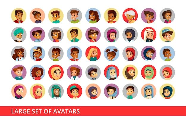 Avatars d'utilisateurs de réseaux sociaux de personnes et d'enfants de différentes nationalités