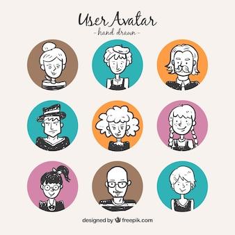 Avatars des utilisateurs de tirage à la main avec des cercles de couleur