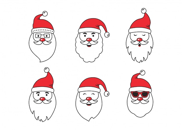 Avatars de vecteur de visage de père noël de noël, personnage de dessin animé mignon, bonnet de noel rouge