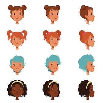 Avatars de visages féminins avec différentes coupes de cheveux et coiffures