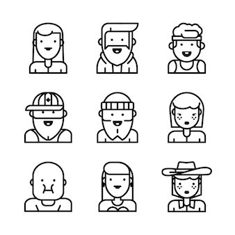 Avatars visages masculins et féminins.