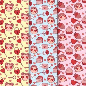 Avatars avec des yeux en forme de coeur motif valentine