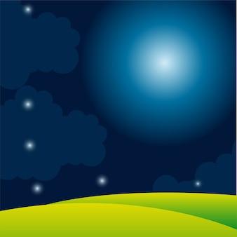 Avec la lune et les étoiles avec fond d'herbe