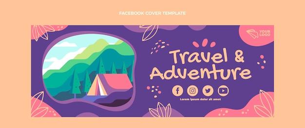 Aventure au design plat et couverture facebook de voyage