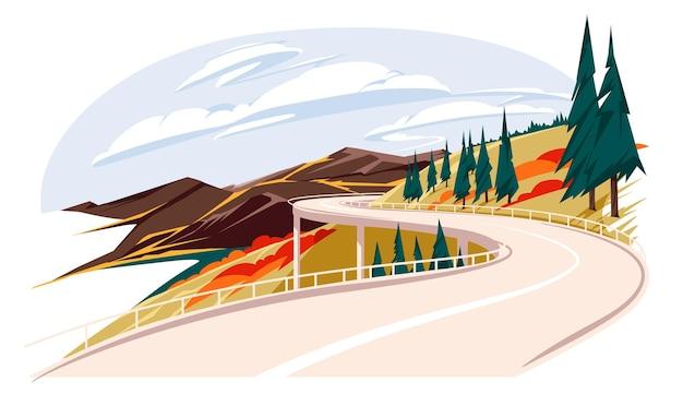 Aventure automne fond bannière buisson dessin animé pays campagne conduire automne plat fores