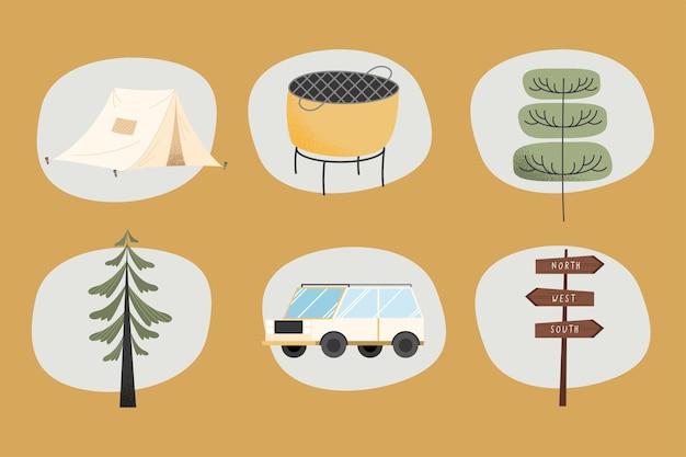Aventure de camping définie six icônes