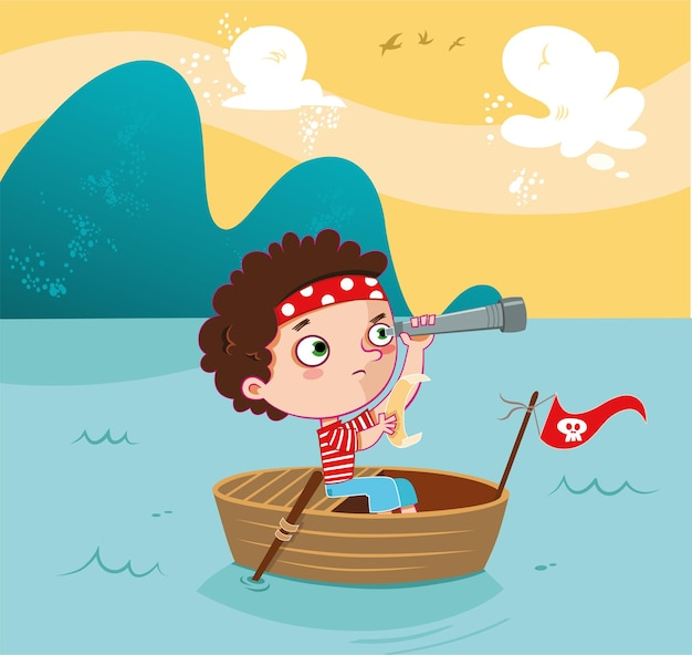 Aventure de chasseur de trésors petit garçon illustration vectorielle