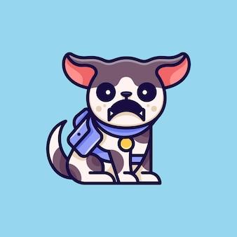 Aventure de chien en colère pour l'autocollant et l'illustration de logo d'icne de caractère