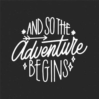 L'aventure commence le lettrage de texte de voyage