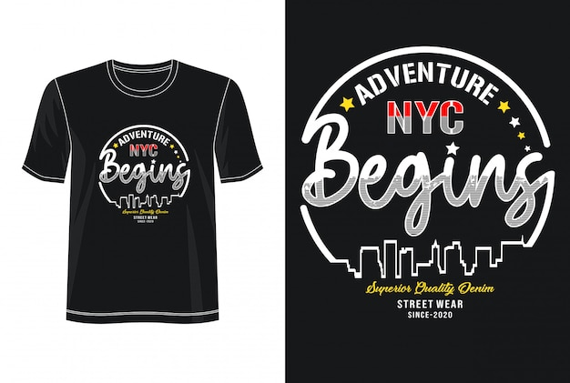 L'aventure commence la typographie pour le t-shirt imprimé