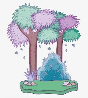 Aventure en forêt avec des arbres et des arbustes
