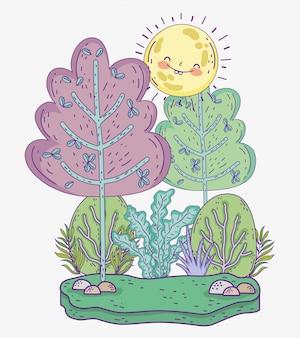 Aventure en forêt avec arbres et soleil avec plantes