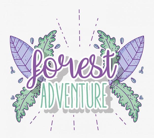 Aventure en forêt avec des plantes et des feuilles naturelles