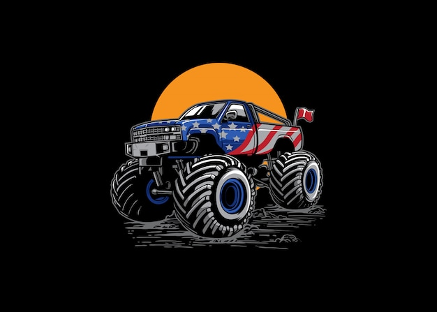 Aventure hors route monster truck illustration