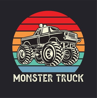 Aventure Hors Route Monster Truck Vecteur Premium