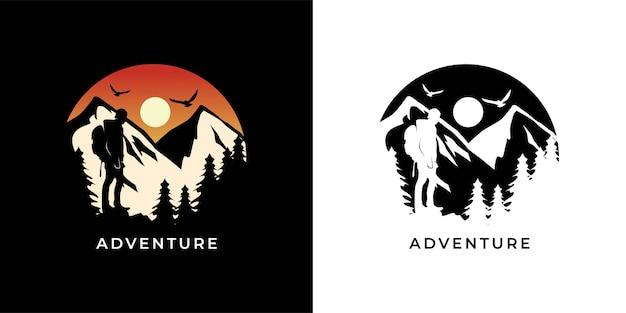 Aventure avec illustration de logo de randonnée