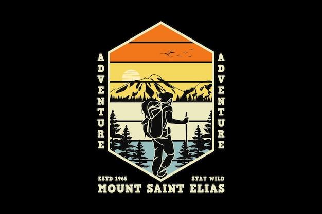 Aventure mont saint elias, design style rétro glauque