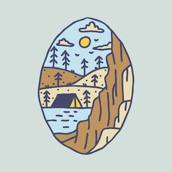 Aventure de randonnée en camping avec la conception de t-shirt d'art d'illustration graphique de collines