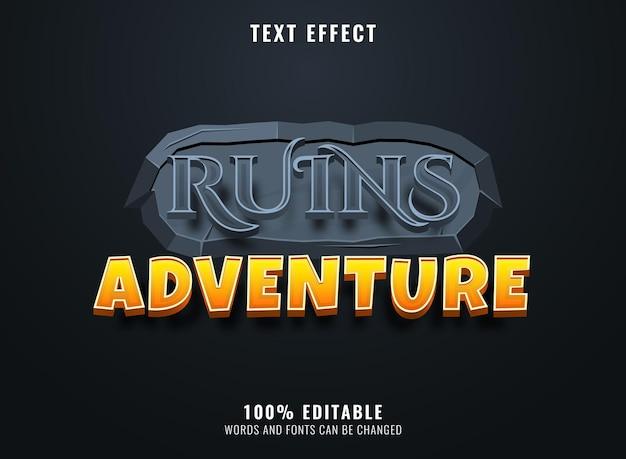 Aventure de ruines 3d avec effet de texte de titre de logo de jeu de cadre de texture de pierre