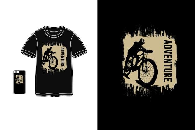 Aventure, typographie de maquette de siluet de marchandise de t-shirt