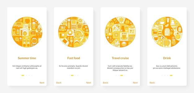 Aventures en plein air d'été et nourriture, illustration de cercle jaune