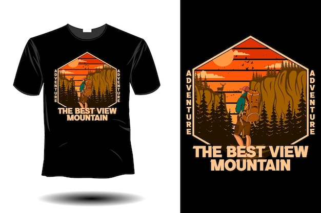 Aventurez-vous sur le design vintage rétro de la meilleure vue sur la montagne