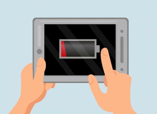 Avertissement de batterie épuisée illustration de couleur plate