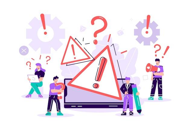 Avertissement d'erreur de concept de système d'exploitation. illustration de la page web d'erreur 404, système d'exploitation de la fenêtre d'avertissement d'erreur. pour page web, bannière, présentation, médias sociaux, documents, affiches.