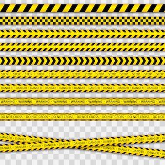 Avertissement ligne rayée noire et jaune.