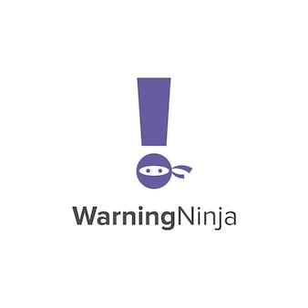 Avertissement ninja simple et élégant création de logo géométrique moderne