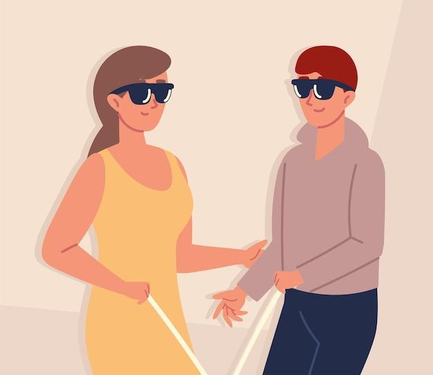 Les aveugles avec des lunettes de soleil
