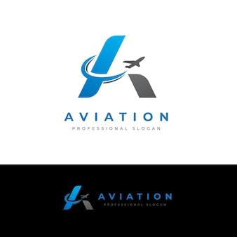 Aviation une lettre logo