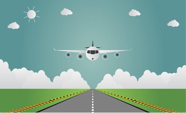 Avion atterrit sur l'aéroport
