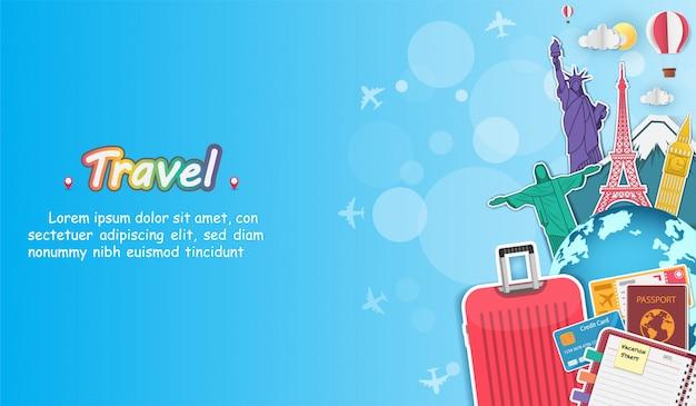 Avion et bagages voyagent à travers le concept du monde.
