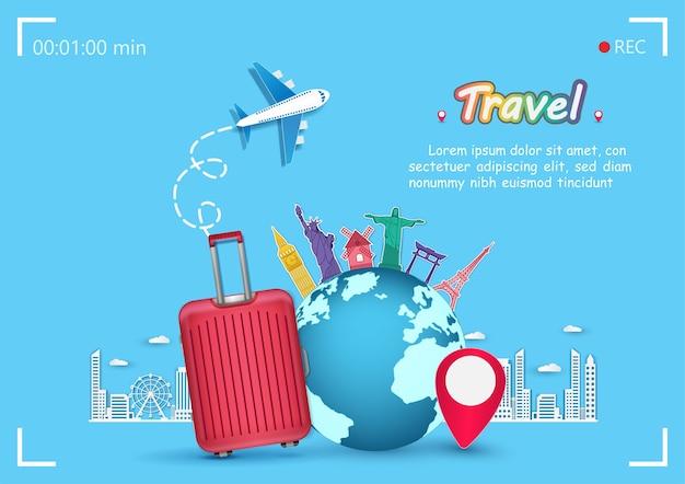 Avion et bagages voyager autour du monde concept.