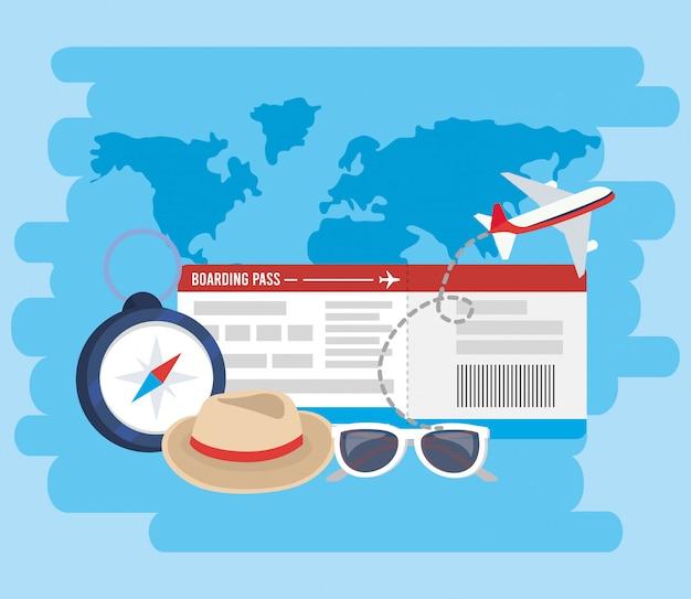 Avion avec billet et chronomètre pour des vacances d'aventure