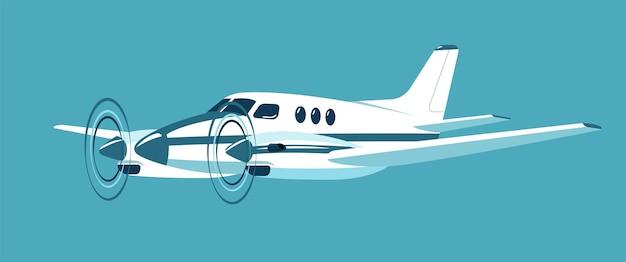 Avion biturbopropulseur isolé. illustration vectorielle.