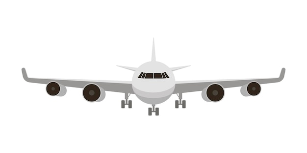 Avion blanc de l'avant isolé sur blanc