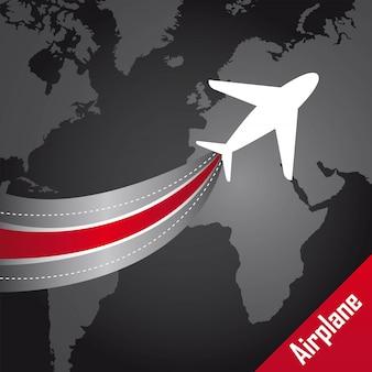 Avion sur la carte au cours de l'illustration vectorielle fond noir