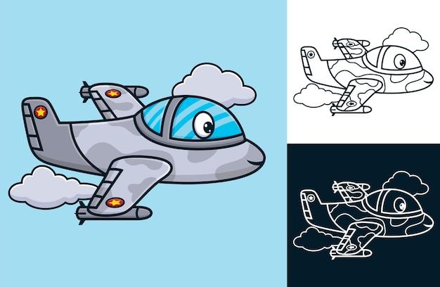 Avion de chasse drôle. illustration de dessin animé de vecteur dans le style d'icône plate