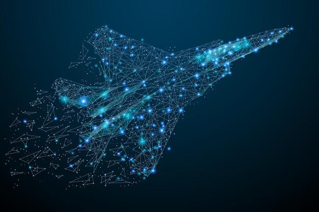 Avion de chasse en vol à partir de points polygonaux abstraits bleu low poly fighter in motion lines
